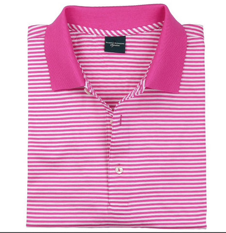 Mens Fairway & Greene Classic Lisle Stripe Polo Pink! - Golf Stitch