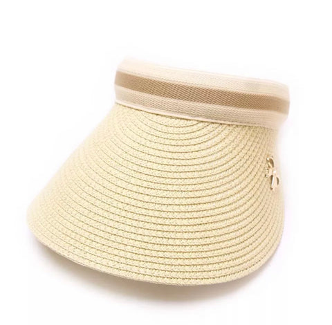 Ladies Chloe Lee Raffia Sun Visor Stone