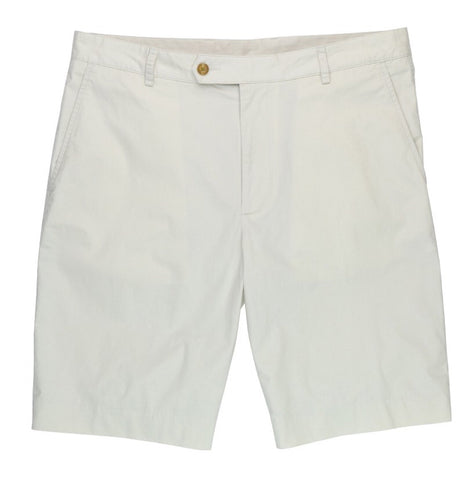 Mens Fairway & Greene Cotton Poplin Flat Front Shorts Stone - Golf Stitch