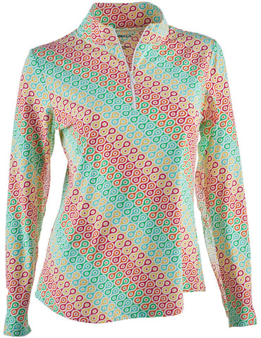 Ladies IBKUL Ribbon Candy Print Longsleeve Mock Top Multi