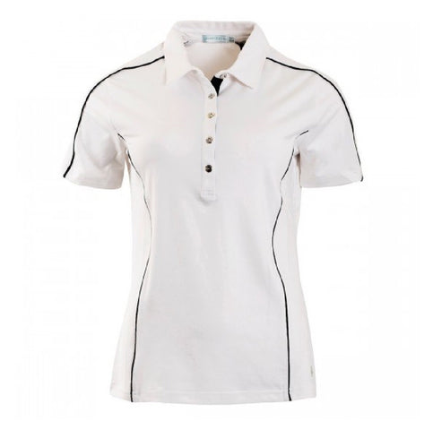 Ladies Green Lamb Cammie Piping Polo White/Black