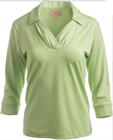 Ladies Sport Haley 3/4 Sleeve Polo Kiwi - Golf Stitch