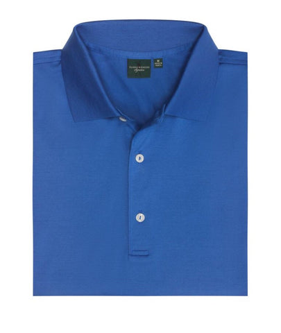 Mens Fairway & Greene Signiture Solid Lisle Polo Blue - Golf Stitch
