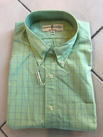 Mens Fairway & GreeneBonita Windowpane Woven Longsleeve Grass Green - Golf Stitch