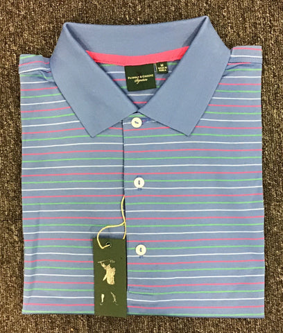 Mens Fairway & Greene Triple Stripe Lisle Polo Blue