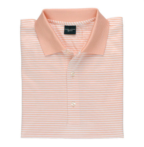 Mens Fairway & Greene Classic Lisle Stripe Polo Straw - Golf Stitch