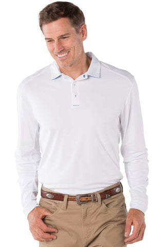 Mens IBKUL Solid Longsleeve Polo White