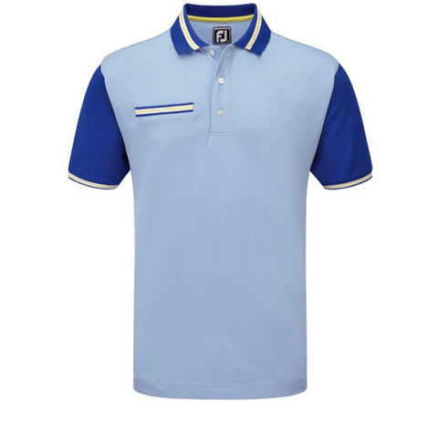 Mens Footjoy Colour Block Pique Polo Lt Blue/Yellow