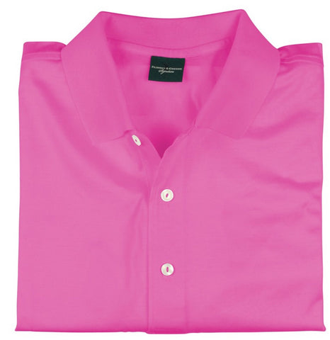 Mens Fairway & Greene Signiture Solid Lisle Polo Pink - Golf Stitch