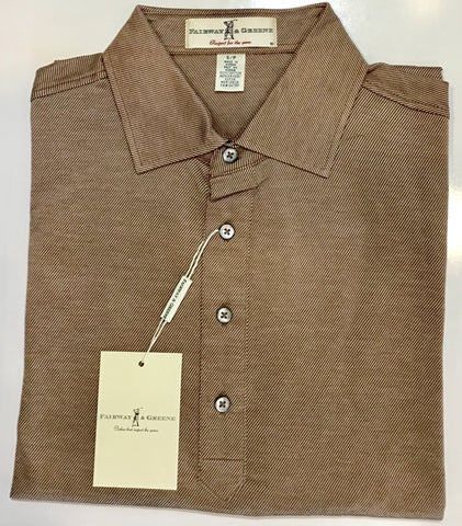 Mens Fairway & Greene Bedford Jacquard Signiture Polo Cognac
