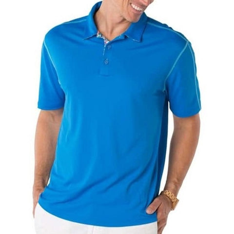 Mens IBKUL Solid Polo Royal Blue