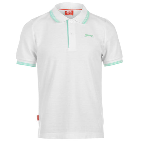 Junior Slazenger Tipped Polo White - Golf Stitch