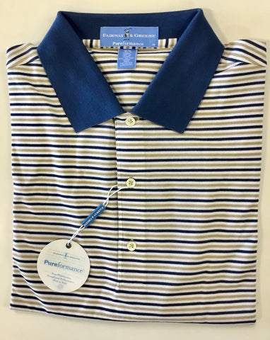 Mens Fairway & Greene Pebble Beach Stripe Performance Pique Polo Linen - Golf Stitch