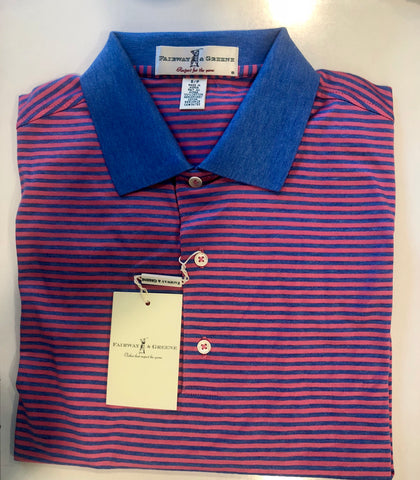Mens Fairway & Greene Vernon Stripe Lisle Polo Flamingo - Golf Stitch