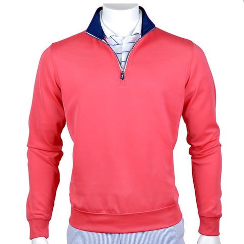 Mens Fairway & Greene 1/4 Zip Tech Sweater Nantucket Red - Golf Stitch