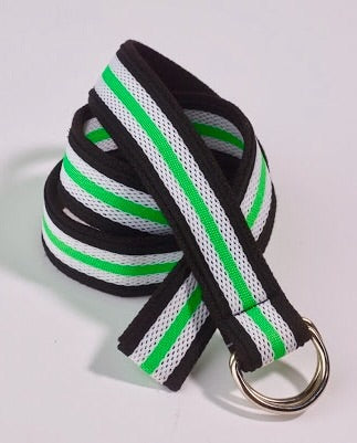 Ladies GG Blue Webbing Belt Black/White/Green