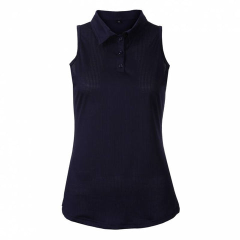 Ladies Red Belly Solid Sleeveless Polo Navy