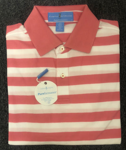 Mens Fairway & Greene Thunderbolt StripePerformance Pique Polo Flamingo Pink - Golf Stitch