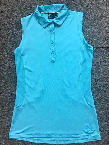 Ladies Cross Relief Sleeveless Polo Vibrant Blue