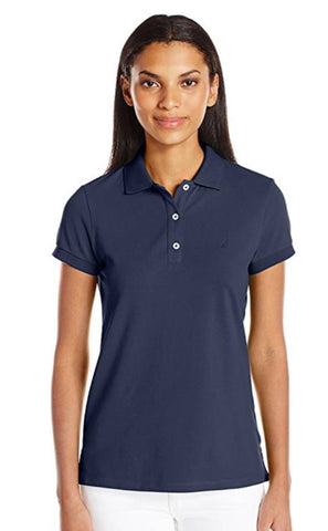 Ladies Nautica Cotton Pique Polo Navy