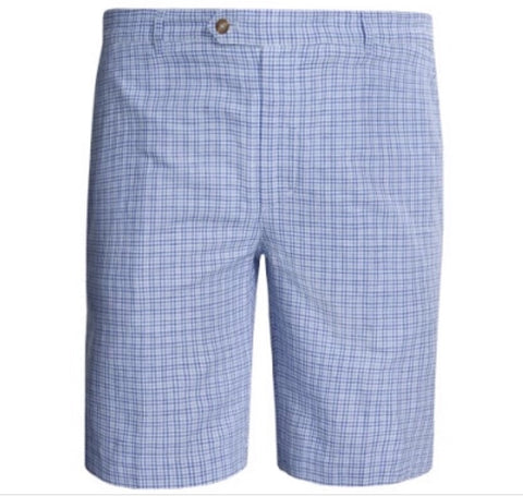 Mens Fairway & Greene St Tropez Check Shorts Blue - Golf Stitch