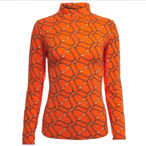 Ladies IBKUL Bitty Print Mock Top Orange