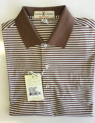 Mens Fairway & Greene Classic Lisle Stripe Polo Cognac - Golf Stitch