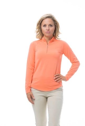 Ladies San Soleil Soltec Ice Longsleeve Polo Papaya
