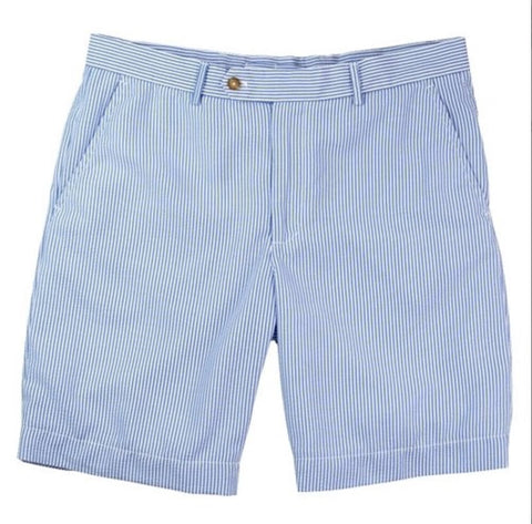 Mens Fairway & Greene Summer Seersucker Flat Front Shorts Blue Sea - Golf Stitch