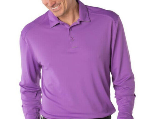 Mens IBKUL Solid Longsleeve Polo Purple