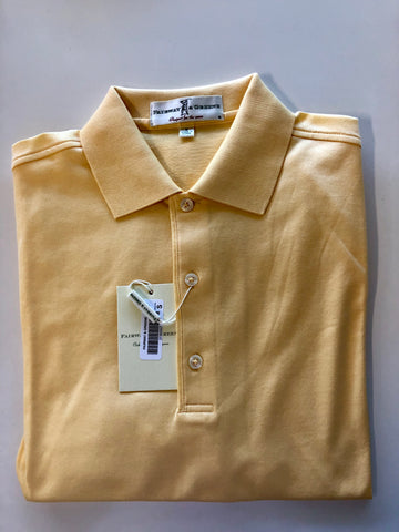 Men's Fairway & Greene Signiture Solid Lisle Polo Lemon RR - Golf Stitch