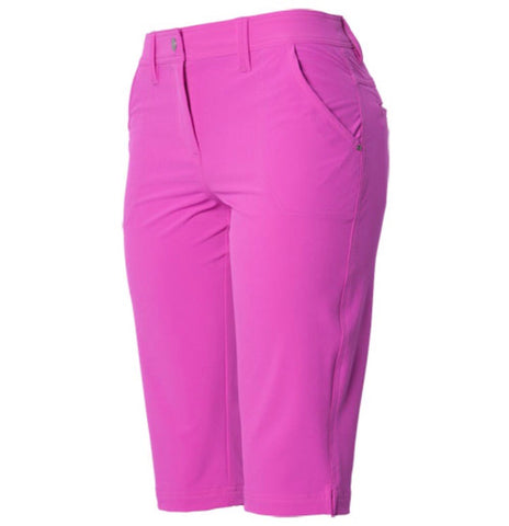 Ladies Nivo Solid Tech Capri Hot Pink - Golf Stitch