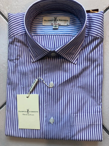 Mens Fairway & Greene Woven Bengal Stripe Shirt Lilac/White - Golf Stitch