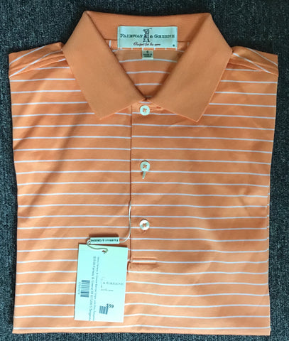Mens Fairway & Greene Barrow Stripe Lisle Polo Tangerine