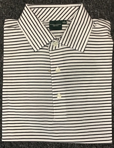 Mens Fairway & Greene Collar Stripe Lisle Polo White/Green