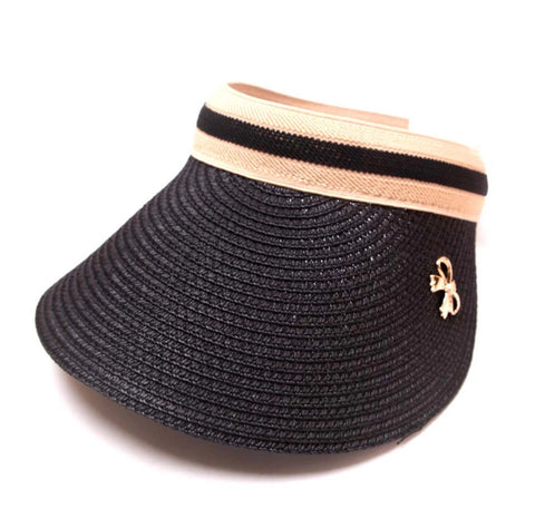 Ladies Chloe Lee Raffia Sun Visor Black