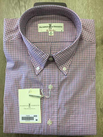 Mens Fairway & Greene Woven Shirt Fuschia - Golf Stitch
