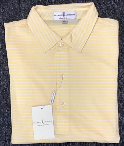 Mens Fairway & Greene Beacon Stripe Pique Lisle Polo Grapefruit