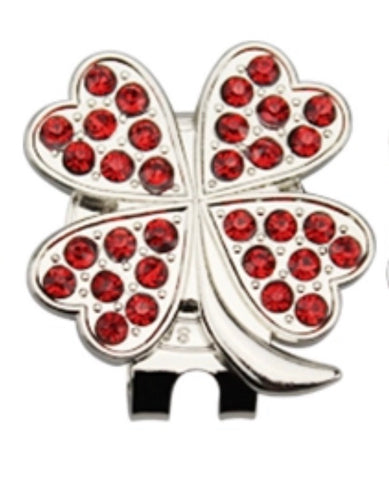 Caitlin 4 Leaf Clover ball Marker & Hat Clip Red