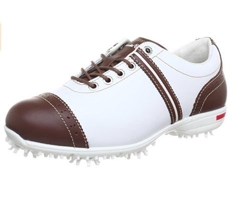 Ladies Duca Del Cosma Gioia White/Brown - Golf Stitch