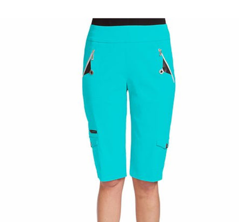 Ladies Jamie Saddock Knee Capri Cyan