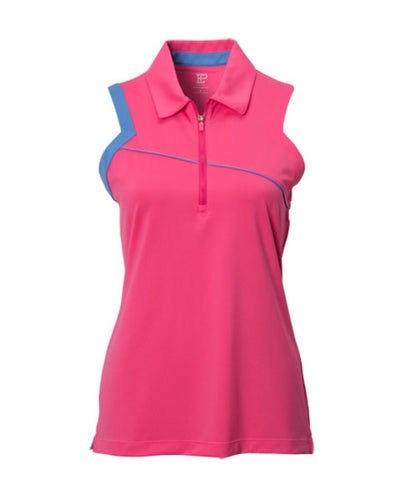 Ladies EP Pro Angled Cutaway Sleeveless Polo Pink/Blue