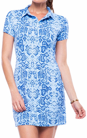 Ladies IBKUL Promenade Iggy Print Shortsleeved Dress Denim