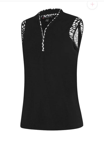 Ladies Birdee Shoulder Panel Print Sleeveless Polo Black