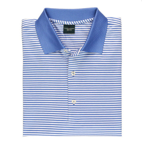Mens Fairway & Greene Classic Lisle Stripe Polo Moonlight - Golf Stitch