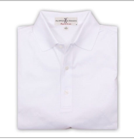 Mens Fairway & Greene Sugniture Solid Lisle Polo White - Golf Stitch