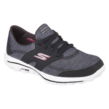Ladies Skechers GoGolf Softspike Golf Shoes Black/Charcoal - Golf Stitch
