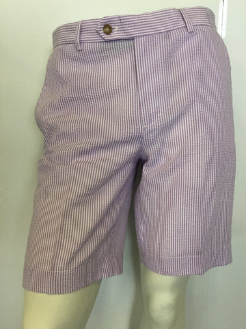 Mens Fairway & Greene Seersucker Shorts Majesty/White - Golf Stitch