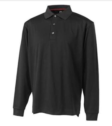 Mens Footjoy Longsleeve Polo Black - Golf Stitch