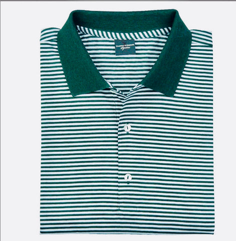 Mens Fairway & Greene Classic Stripe Lisle Polo Bottle Green